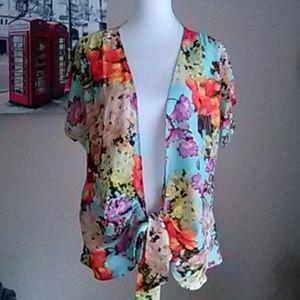 NWT Lafayette 148 New York Silk floral wrap blouse